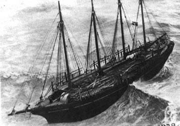 Old ship at sea
